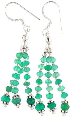 Faceted Green Onyx Earrings - Sterling Silver