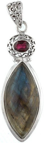 Labradorite and Garnet Pendant - Sterling Silver