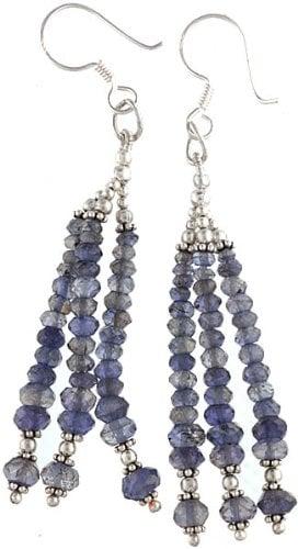 Faceted Iolite Earrings - Sterling Silver