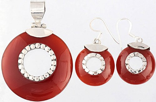 Carnelian Pendant with Matching Earrings Set - Sterling Silvere