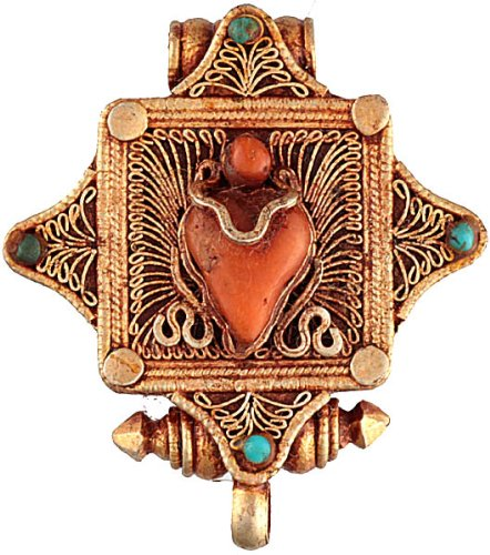 Filigree Gau Box Pendant with Coral and Turquoise - Sterling Silver