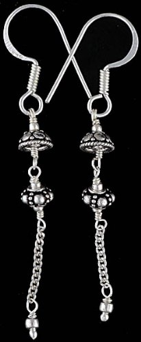Sterling Earrings with Dangling Chain - Sterling Silver
