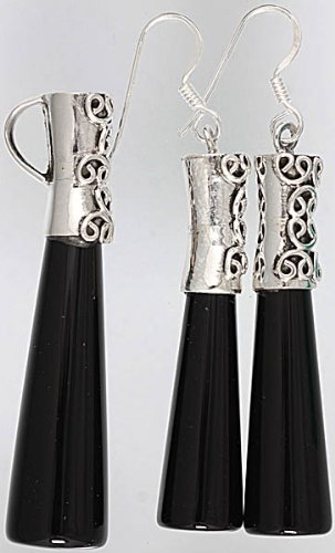 Inlay Pencil Pendant with Matching Earrings Set - Sterling Silver