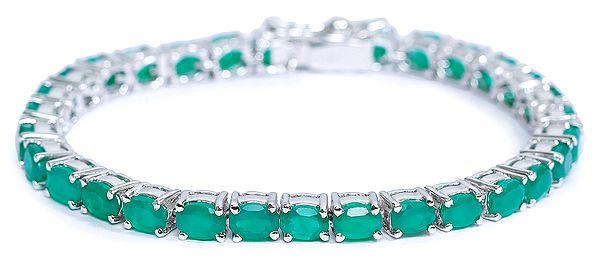 Faceted Superfine Green Onyx Bracelet