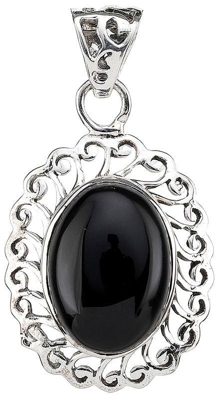 Black Onyx Lattice Pendant