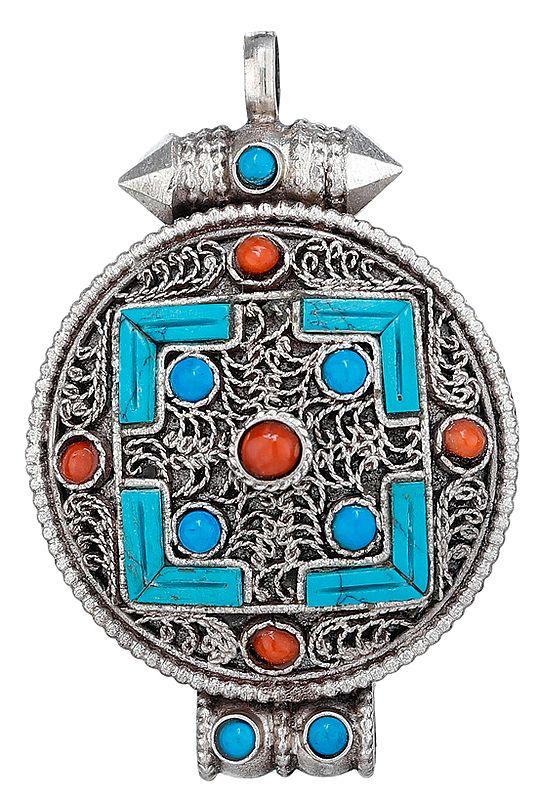 Tibetan Filigree Gau Box Pendant with Coral and Turquoise