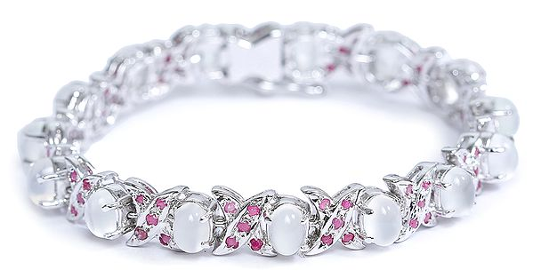 Gray Moonstone Bracelets with Ruby
