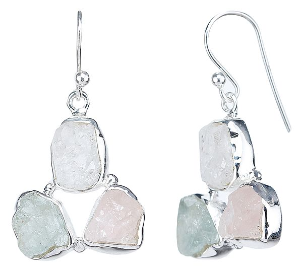 Rugged Rose Quartz, Aquamarine and Green Amethyst Earrings