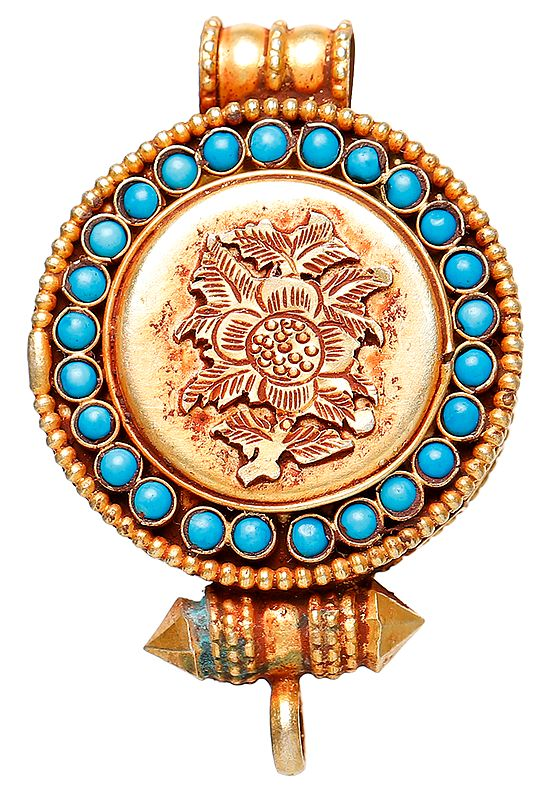 Gau Box Pendant with Fine Filigree Work  with Turquoise