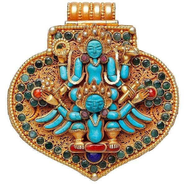 Shri Narayana Vishnu on Garuda with Lord Ganesha Inside (Nepalese Handcrafted Gau Box Pendant)