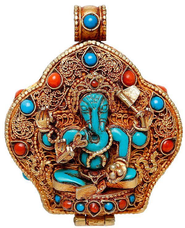 Lord Ganesha Gau Box Pendant with Lord Buddha and The Kalachakra Mantra Inside
