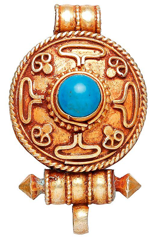Mandala Gau Box Pendant with Turquoise