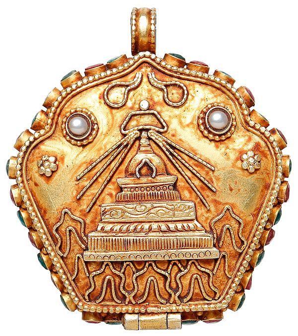 Swayambhunath Gau Box Pendant and Tibetan Buddhist God Kubera with Kalachakra Mantra Inside