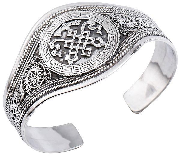 Endless-Knot (Ashtamangala) Cuff Bracelet (Adjustable Size)