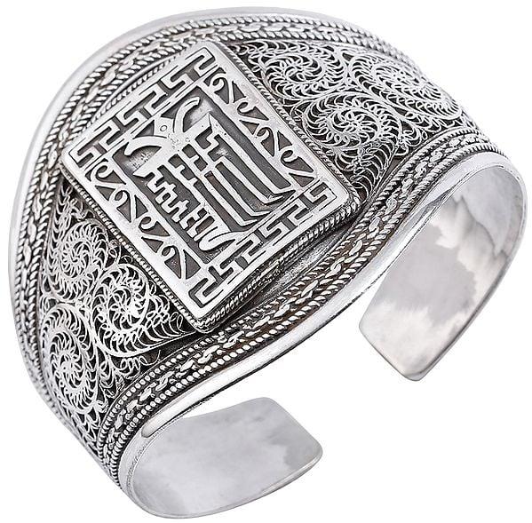 Kalachakra Mantra with Intricate Filigree Cuff  Bracelet (Adjustable Size)