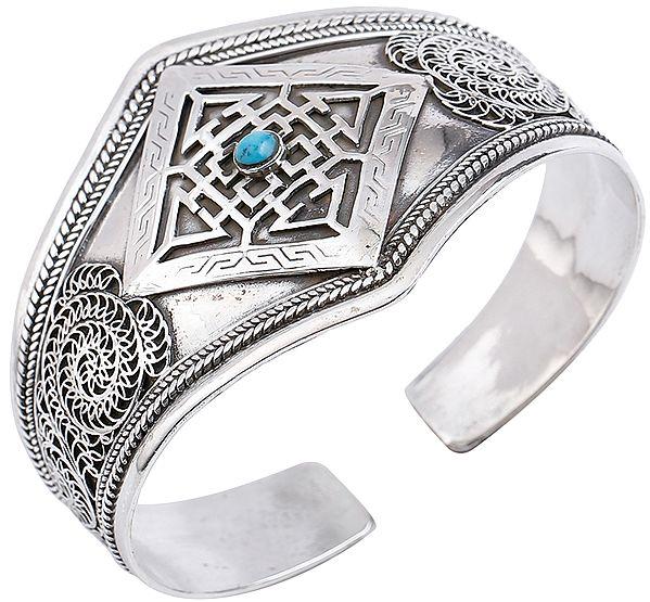 Mandala with Turquoise and Filigree Cuff  Bracelet (Adjustable Size)