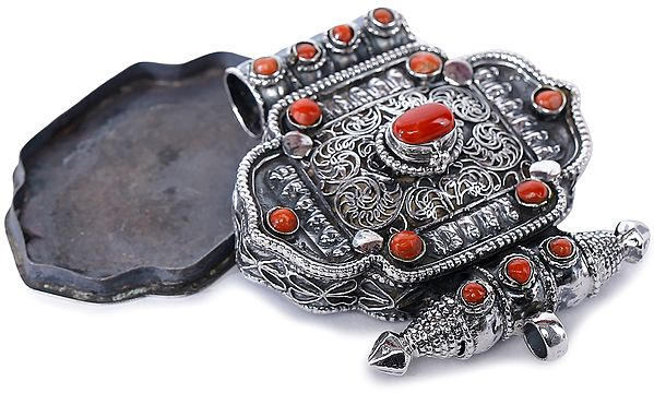 Filigree Gau Box Pendant with Coral from Nepal