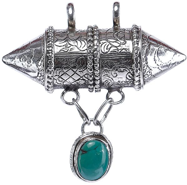 Capsule Pendant with Engravings and Turquoise Charm from Nepal