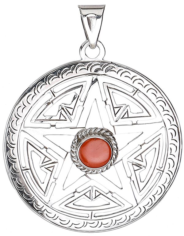Five Pointed Star Pendant with Coral from Nepal