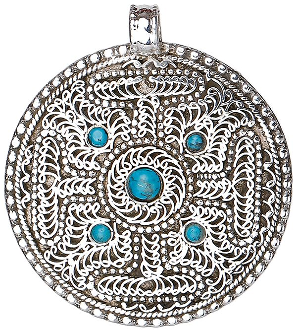 Filigree Mandala Pendant with Turquoise from Nepal