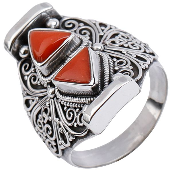 Triangular Twins Coral Ring
