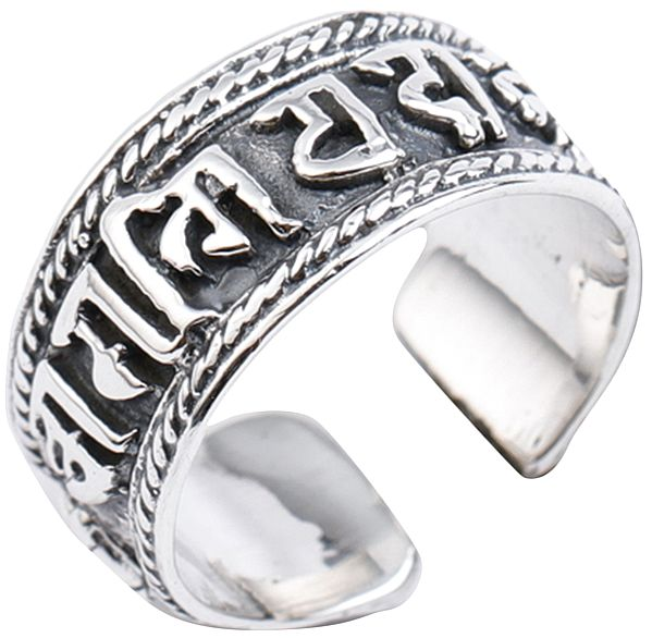 Om Mani Padme Hum Ring with Two Dorjes and Twisted Rope Design