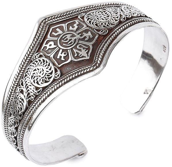 Om Mani Padme Hum Cuff Bracelet with Filigree (Adjustable Size)
