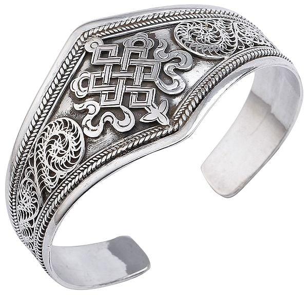 Endless-Knot (Ashtamangala) Filigree Cuff Bracelet (Adjustable Size)