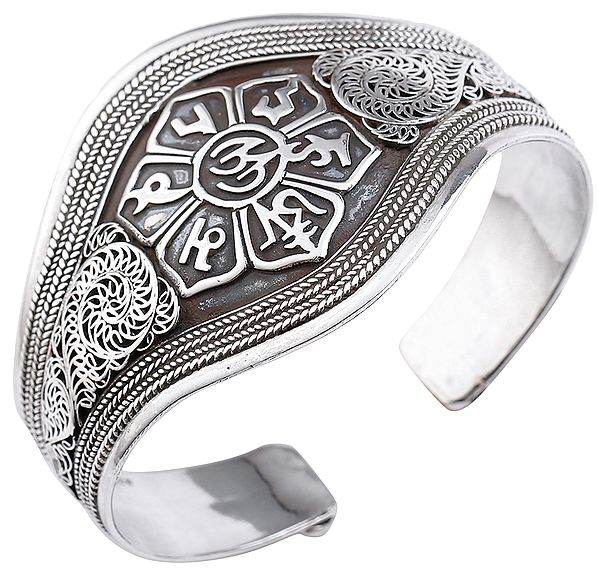 Om Mani Padme Hum Cuff Bracelet with Filigree and Twisted Rope Design (Adjustable Size)