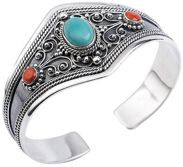 Turquoise and Coral Cuff Bracelet with Twisted Rope Design from Nepal (Adjustable Size)