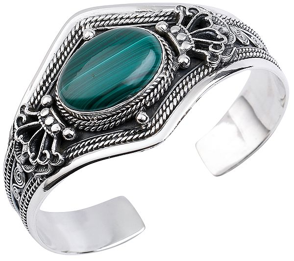 Big Oval Cut Melachite Cuff Bracelet with Double Dorje Design from Nepal (Adjustable Size)