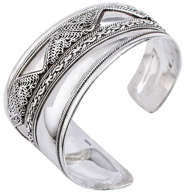 Assymetric Filigree Cuff Bracelet Design from Nepal (Adjustable Size)