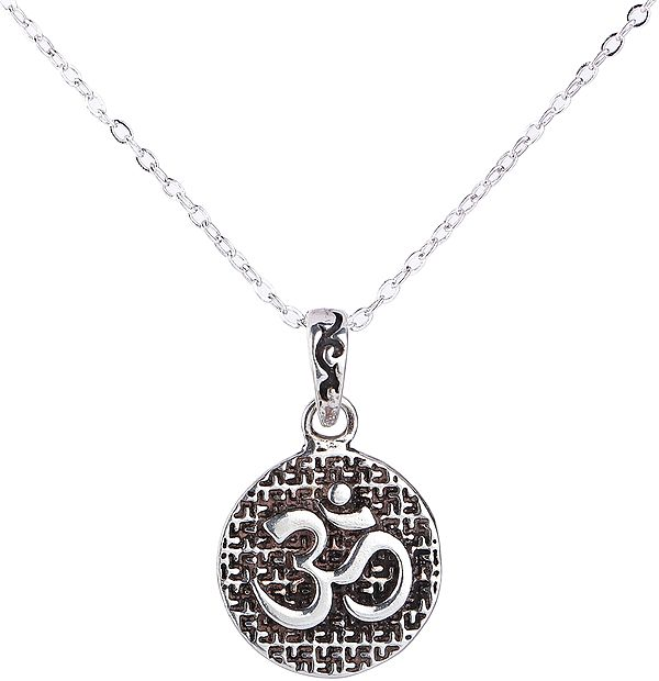 Om Pendant with Holy Swastika Pattern from Nepal