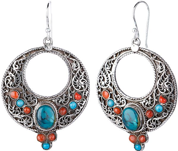 Filigree Earrings with Coral and Tibetan Turquoise from Nepal