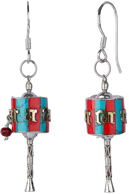 The Prayer Wheel (Cho-Kor or Khorten) Earrings with Coral and Turquoise from Nepal