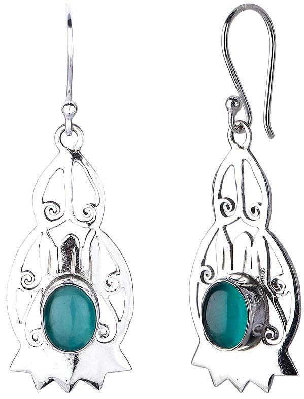 Sterling Silver Jali (Lattice) Earrings with Green Onyx