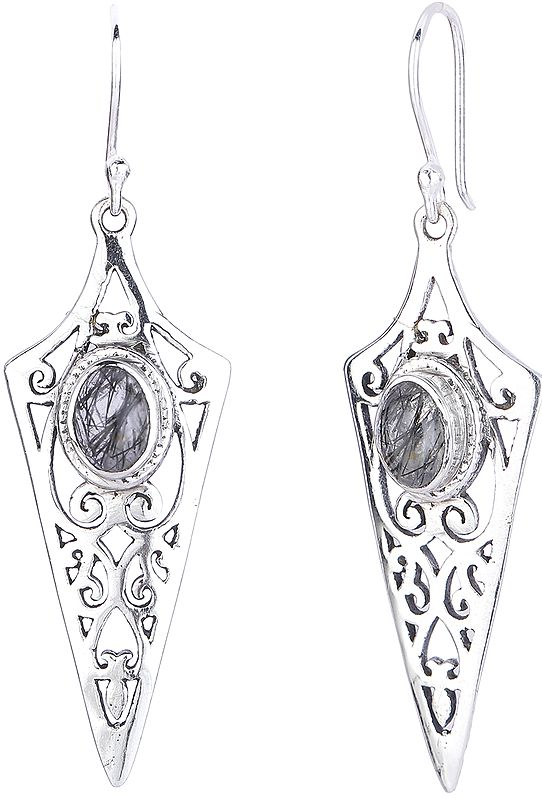 Dagger Shaped Sterling Silver Earrings with Rutilated Quartz