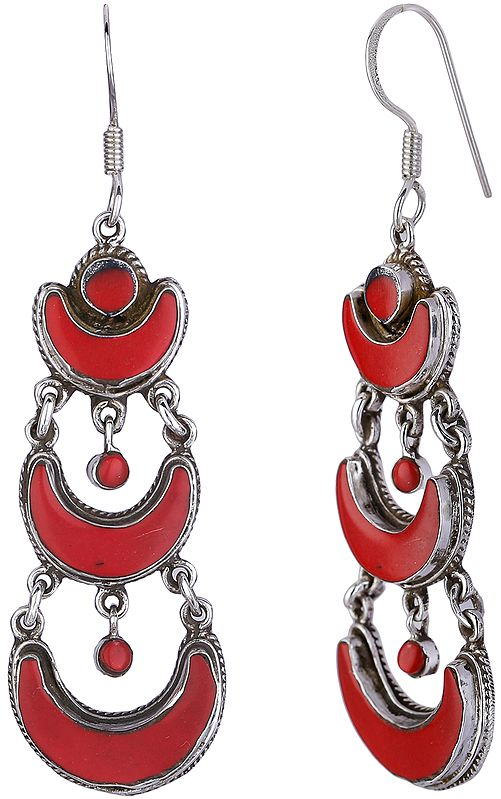 Silver Crescent Moon Design Dangling Earrings with Coral from Nepal