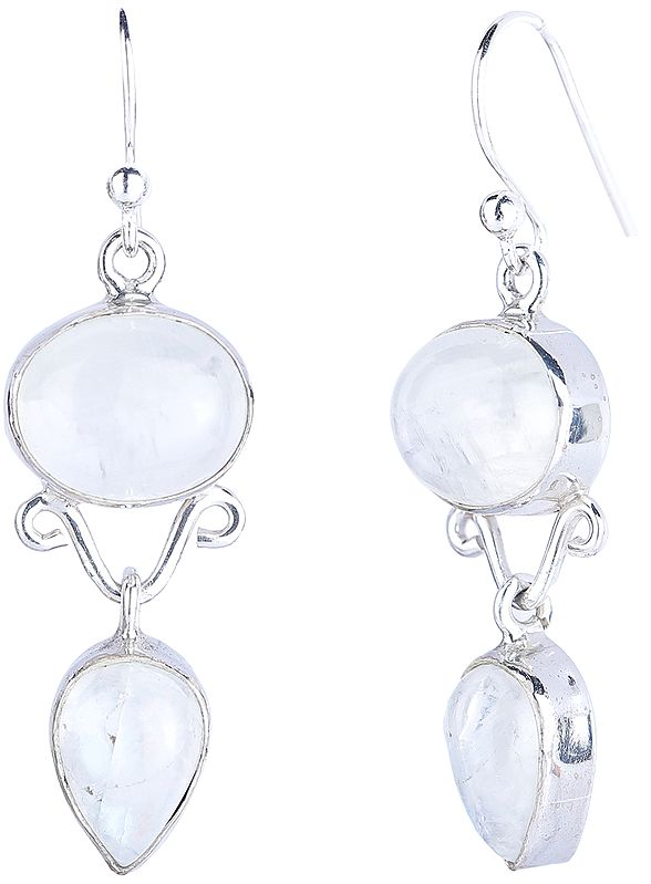 Sterling Silver Dangling Earrings with Rainbow Moonstone