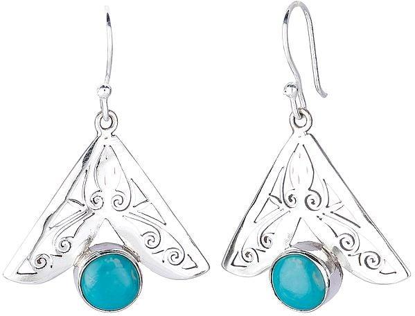 Jali (Lattice) Earrings with Turquoise