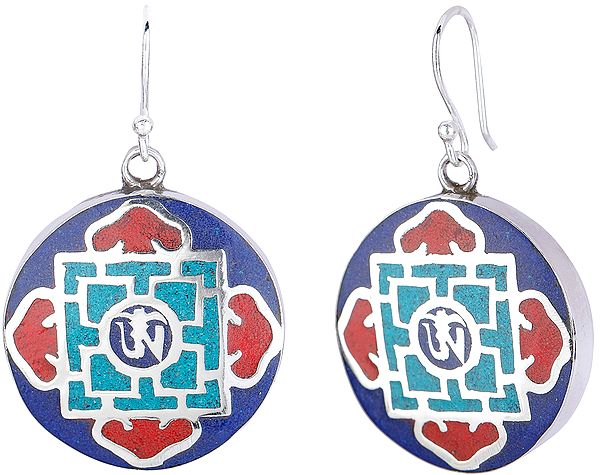 Swayanbhunath Stupa Eyes (Wisdom Eyes) and Buddhist Om Mandala Earrings with Coral Turquoise and Lapis Lazuli from Nepal