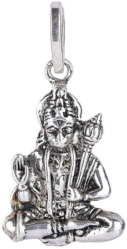 Lord Hanuman Pendant in Yogasana and Abhaya Mudra
