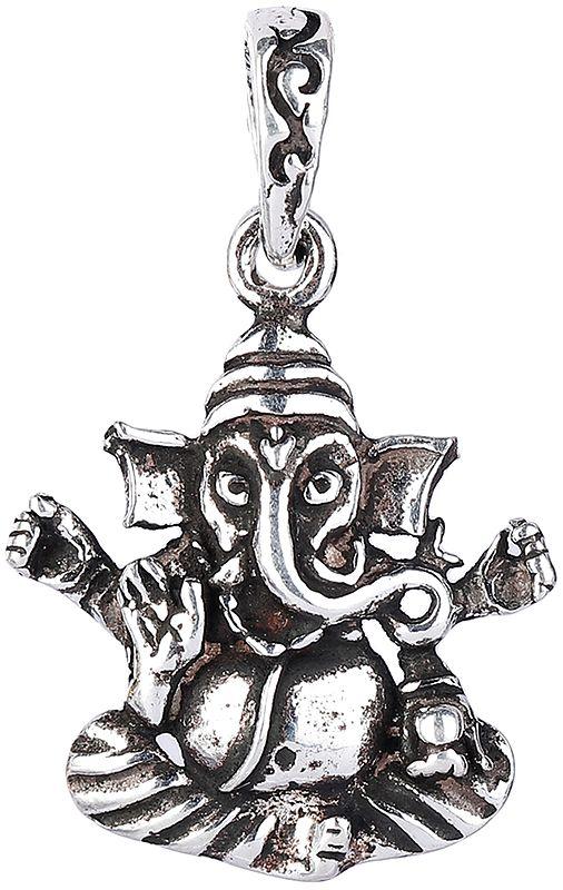 Lord Ganesha Enjoying Modak Sterling Silver Pendant