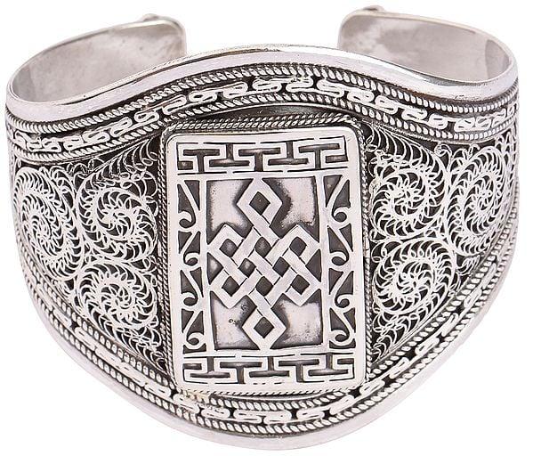 Stylish Filigree Endless Knot (Ashtamangala) Cuff Bracelet (Adjustable Size)