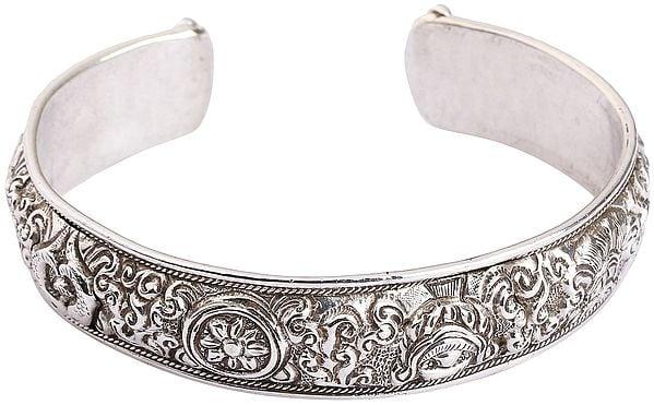 Eight Auspicious Symbols Cuff Bracelet (Adjustable Size)