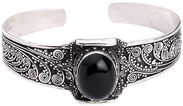 Silver Cuff Bracelet with Black Onyx (Adjustable Size)