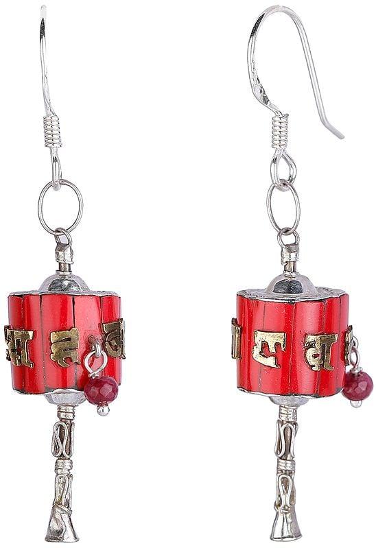 Sterling Silver Tibetan Prayer Wheel Earrings with Coral