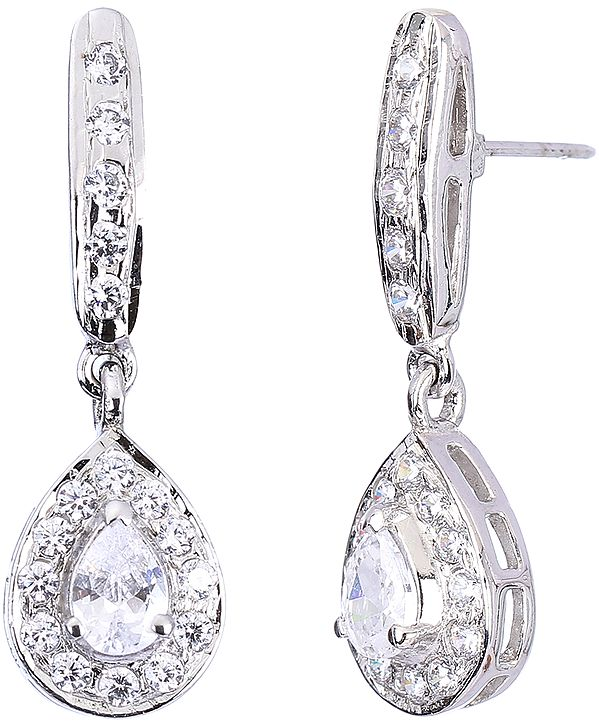 Faceted Cubic Zirconia Teardrop Earrings