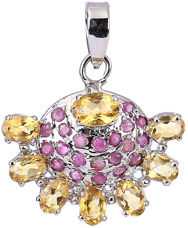 Faceted Citrine with Ruby Half Circle Pendant