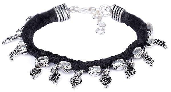 Sterling Silver Leaf and Heart Bracelet with Black Cord (Adjustable)
